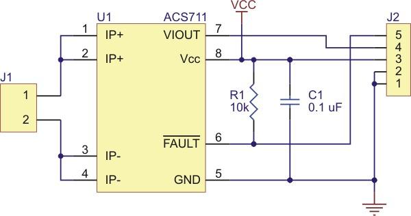 Schemat podłączenia czujnika prądu ACS711