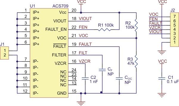 Schemat podłączenia czujnika prądu ACS709