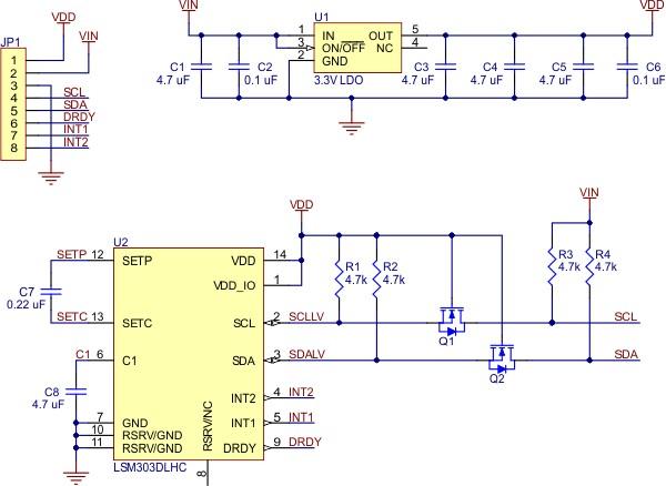 LSM303 - schemat modułu