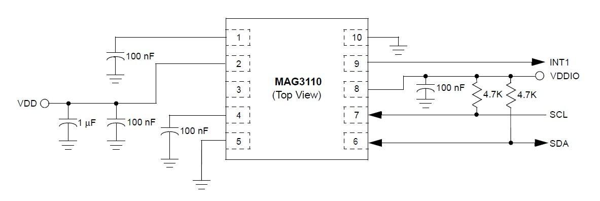 Schemat podłączenia akcelerometru MAG3110